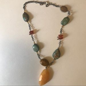 Silpada Sterling Amber Turquoise Jasper Necklace